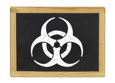 infectious waste: biohazard symbol on a blackboard Stock Photo