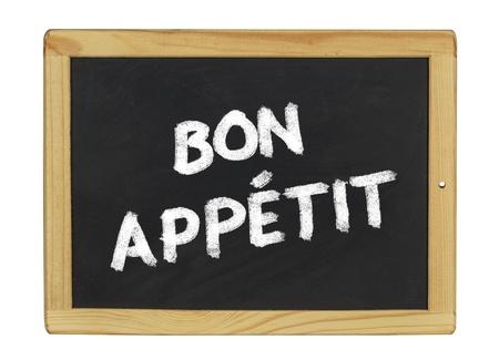 menue: bon appetit on a blackboard