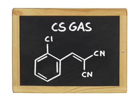 cs: chemical formula of cs gas on a blackboard Stock Photo