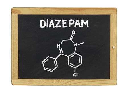 valium: chemical formula of diazepam on a blackboard Stock Photo