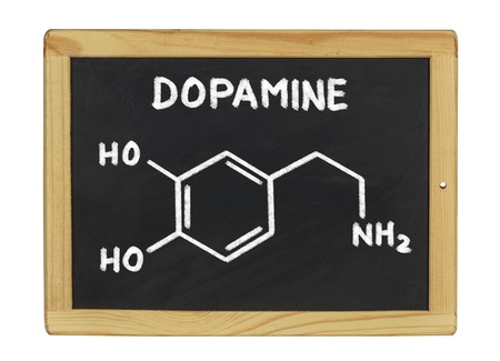 structural formula: chemical formula of dopamine on a blackboard