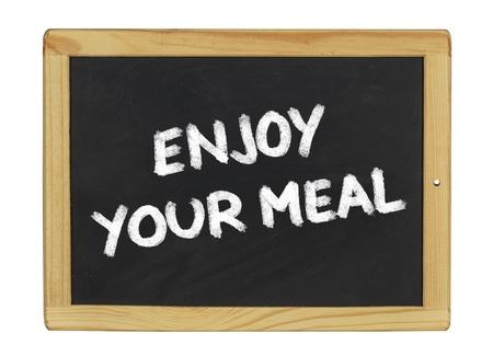 menue: enjoy your meal on a blackboard