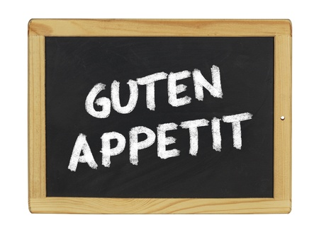 menue: Guten Appetit  on a blackboard