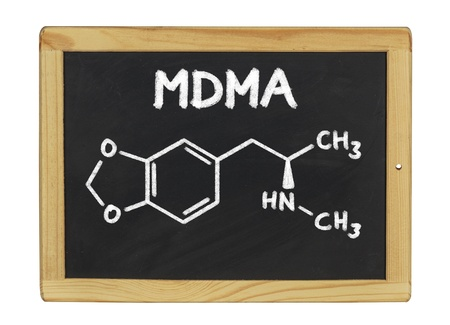 amphetamine: chemical formula of MDMA on a blackboard