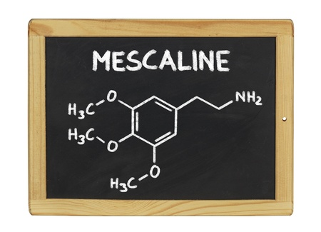 mescaline: chemical formula of mescaline on a blackboard Stock Photo