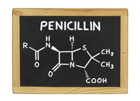 bacteria antibiotic: chemical formula of penicillin on a blackboard