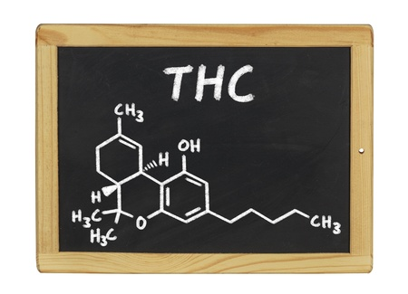 thc: chemical formula of THC on a blackboard
