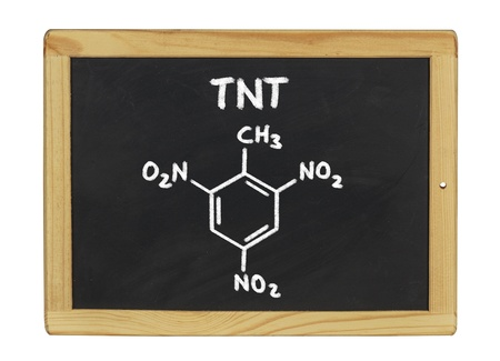 chemical formula of TNT on a blackboard Stock Photo - 17591280