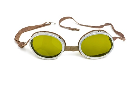 goggle: old safety goggles with green tinted glasses