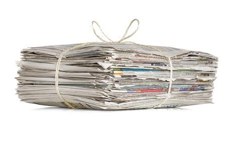 reciclaje de papel: pila de periódicos Foto de archivo