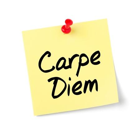 carpe diem: Yellow paper note with text Carpe Diem
