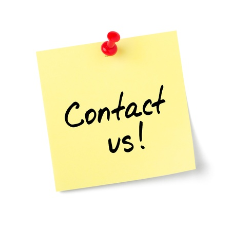 write us: Yellow paper note with text Contact us