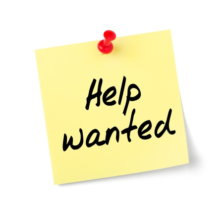 Yellow paper note with text Help wanted Stock Photo - 17897388