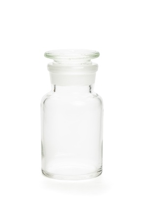 pharmacy bottle made of clear glass photo