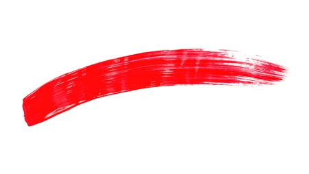 Red brushstroke on a white background