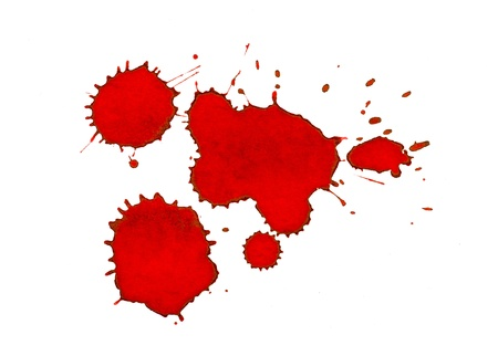 dripped: Red ink splashes Stock Photo