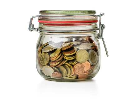 preserving: canning jar filled with coins