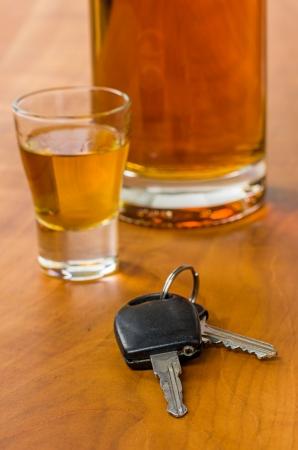dwi: Shot glass with car keys Stock Photo