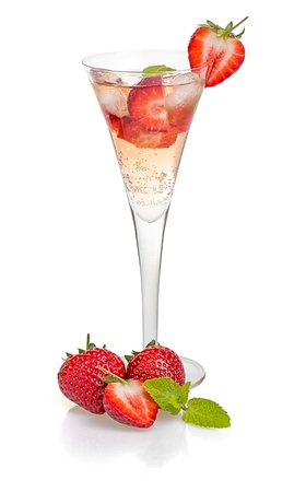 champagne bubbles: Drink with strawberries and mint in a champagne flute Stock Photo