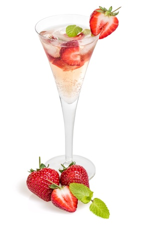 aperitif: Drink with strawberries and mint in a champagne flute Stock Photo