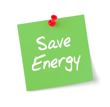postits: Green paper note with text Save Energy