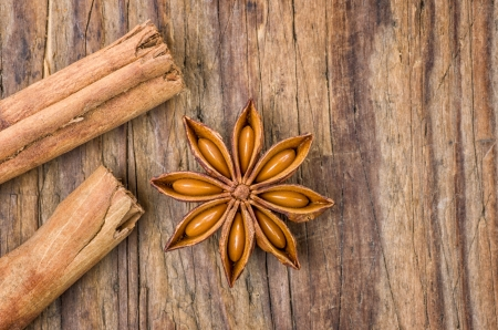 Cinnamon sticks and star anise on a wooden table photo
