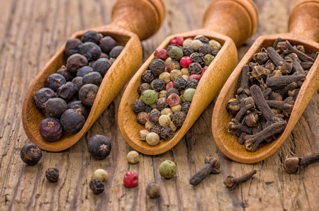 Spice scoops with juniper berries, pepper and cloves photo