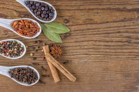Various spices in porcelain spoons photo