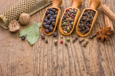 Various spices in wooden scoops photo