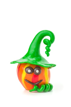modeling clay: Handmade modeling clay pumpkin figure Stock Photo