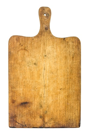 handle: Old rustic wooden kitchen board Stock Photo