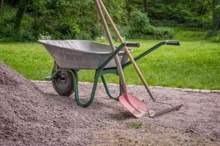 rake: Wheelbarrow with shovel and rake