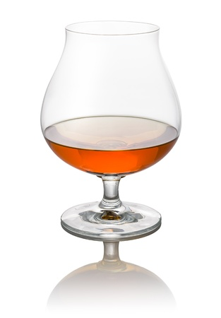 glass of brandy on a white background photo