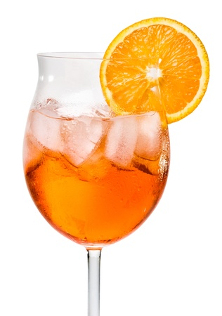 alcoholic beverages: Aperol Spritz in a wine glass decorated with an orange slice Stock Photo