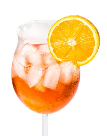 Aperol Spritz in a wine glass decorated with an orange slice photo