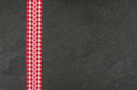 slate texture: Slate plate with checkered ribbon