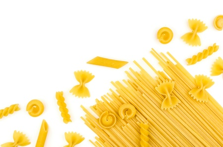 Various types of pasta on a white background Imagens