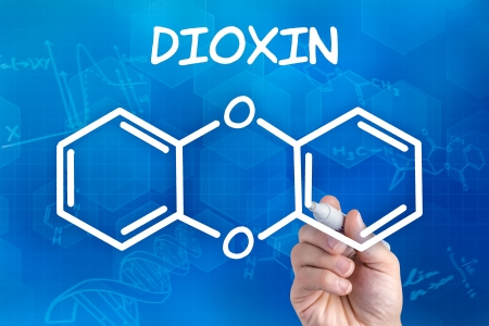 dioxin: hand with pen drawing the chemical formula of dioxin