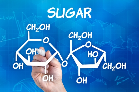 sucrose: hand with pen drawing the chemical formula of sugar