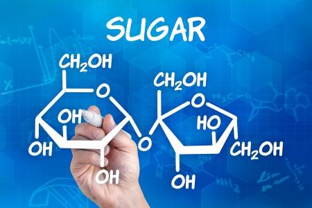 symbole chimique: la main avec un stylo dessin de la formule chimique de sucre