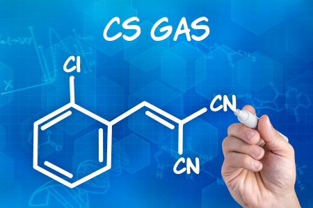 chemistry formula: hand with pen drawing the chemical formula of CS Ga