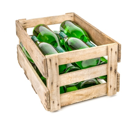 vintage wooden wine crate filled with white wine bottles photo