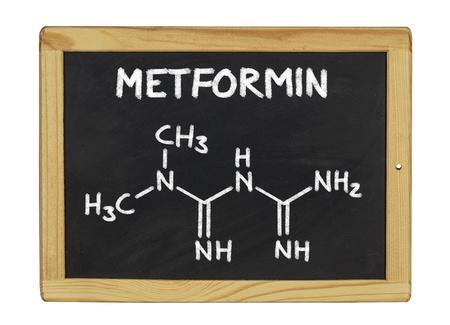 metformin: chemical formula of metformin on a blackboard