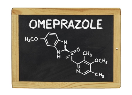chemical formula of omeprazole on a blackboard photo