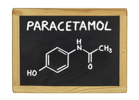 chemical formula of paracetamol on a blackboard photo