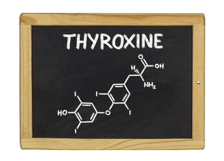 chemical formula of thyroxine on a blackboard photo