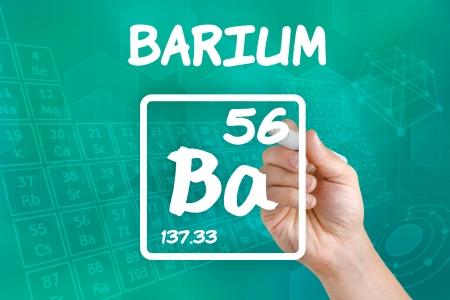 barium: Symbol for the chemical element barium