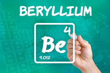 chemical element: Symbol for the chemical element beryllium Stock Photo