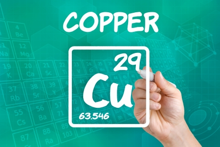 copper coin: Symbol for the chemical element copper Stock Photo