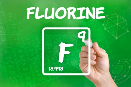 the periodic table: Symbol for the chemical element fluorine